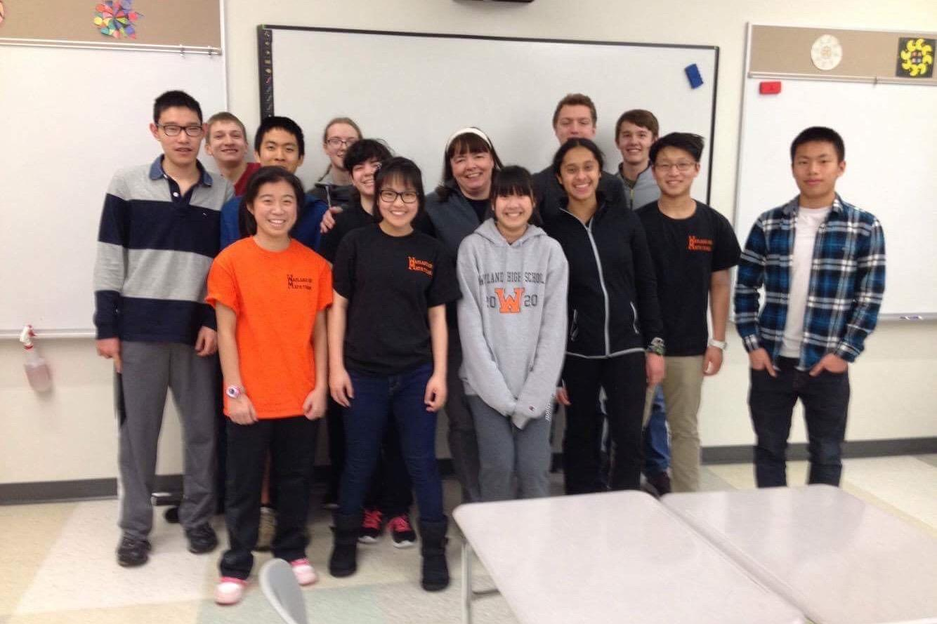 """Above is the WHS Math Team. They competed in the Massachusetts Math League State Playoffs on April 2. """"Every problem represents its own unique challenge. It's rewarding each time I solve a problem,"""" senior Alex Briasco-Stewart said. Courtesy of Wendy Wang."""