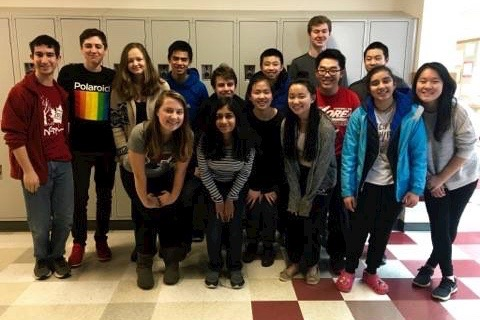 """The members of the Wayland High School Debate Team. On March 25, members participated in the State competition, in which junior Yaniv Goren [back row, fifth from left) and senior Sarah Raines (front row, furthest left) reached the quarterfinal round, placing in the top eight in the state. My goal is that by the time I graduate college, I want [the teams] trophy case to be full,"""" Raines said."""