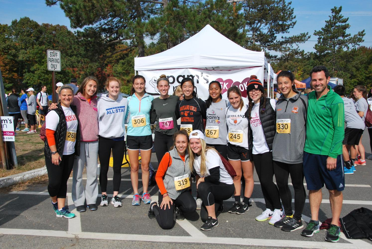 "Pictured above is the 2016 WHS girls' soccer team and coaches before the 4th annual Pam's Run last year. This year, the race will be held on Sunday, October 15 at Claypit Hill School. ""It's a great way to get involved and help with community service,"