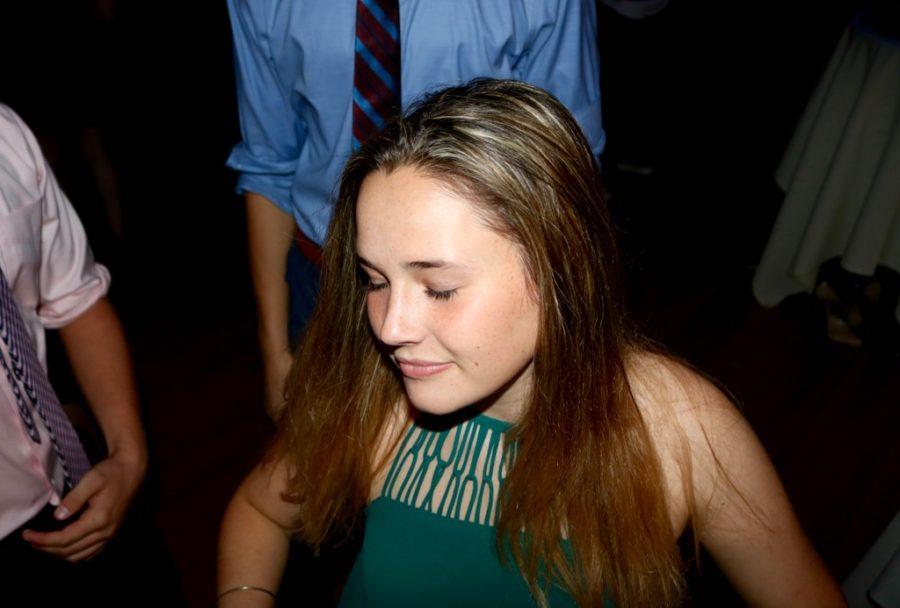 Sophomore Erin Greenberg  dances at this year's sophomore semi-formal dance.