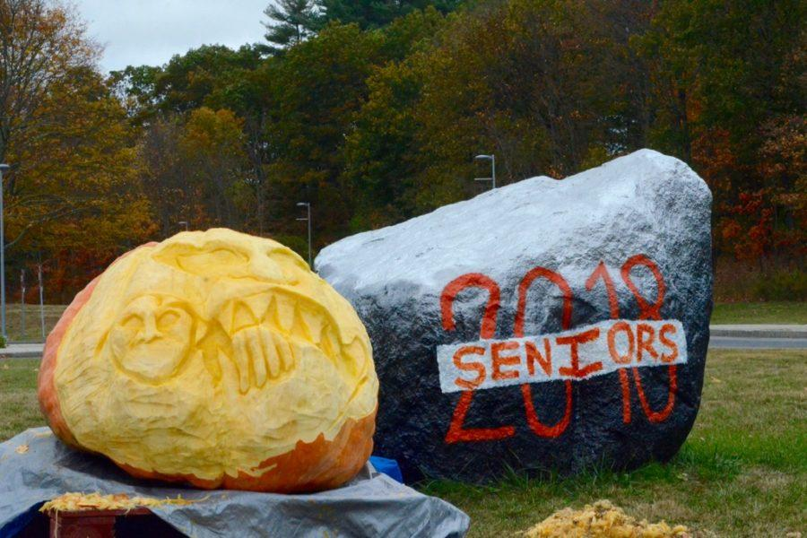 The Class of 2018 carves pumpkins with the Connect program.