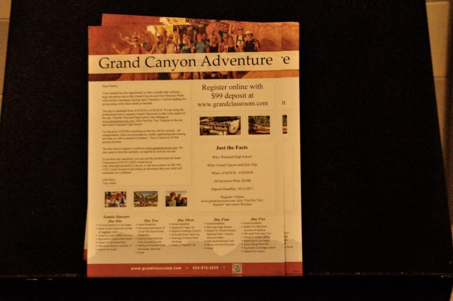 Pictured above are posters advertising the Grand Canyon trip to be held in April of 2018. Fourty students will be able attend the trip, which is organized by wellness teacher John Berry.