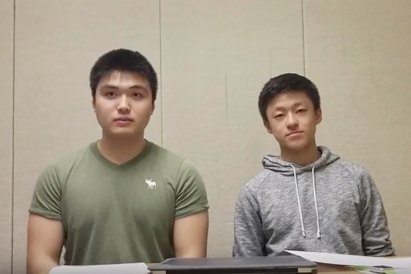 "Above are respectively student council president and vice president Jaylen Wang and Kanming Xu in the third installment of the ""Advisory Report"" series."