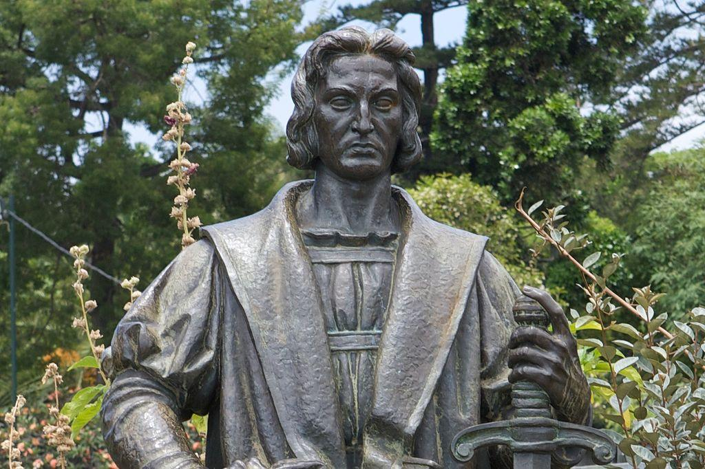 Pictured above is a statue of Christopher Columbus, erected to honor him and his voyage to America.