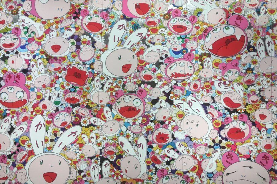 Lots, Lots of Kaikai and Kiki by Takashi Murakami (2009). Acrylic and platinum on canvas mounted on aluminium frame.