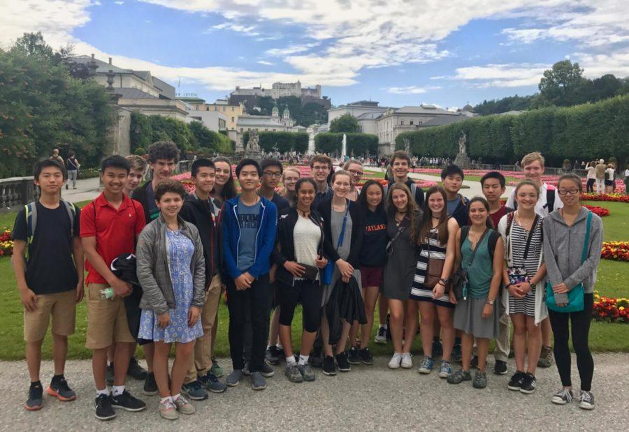 Students from Weston and Wayland pose for a picture on the 2017 AMA trip in Europe.