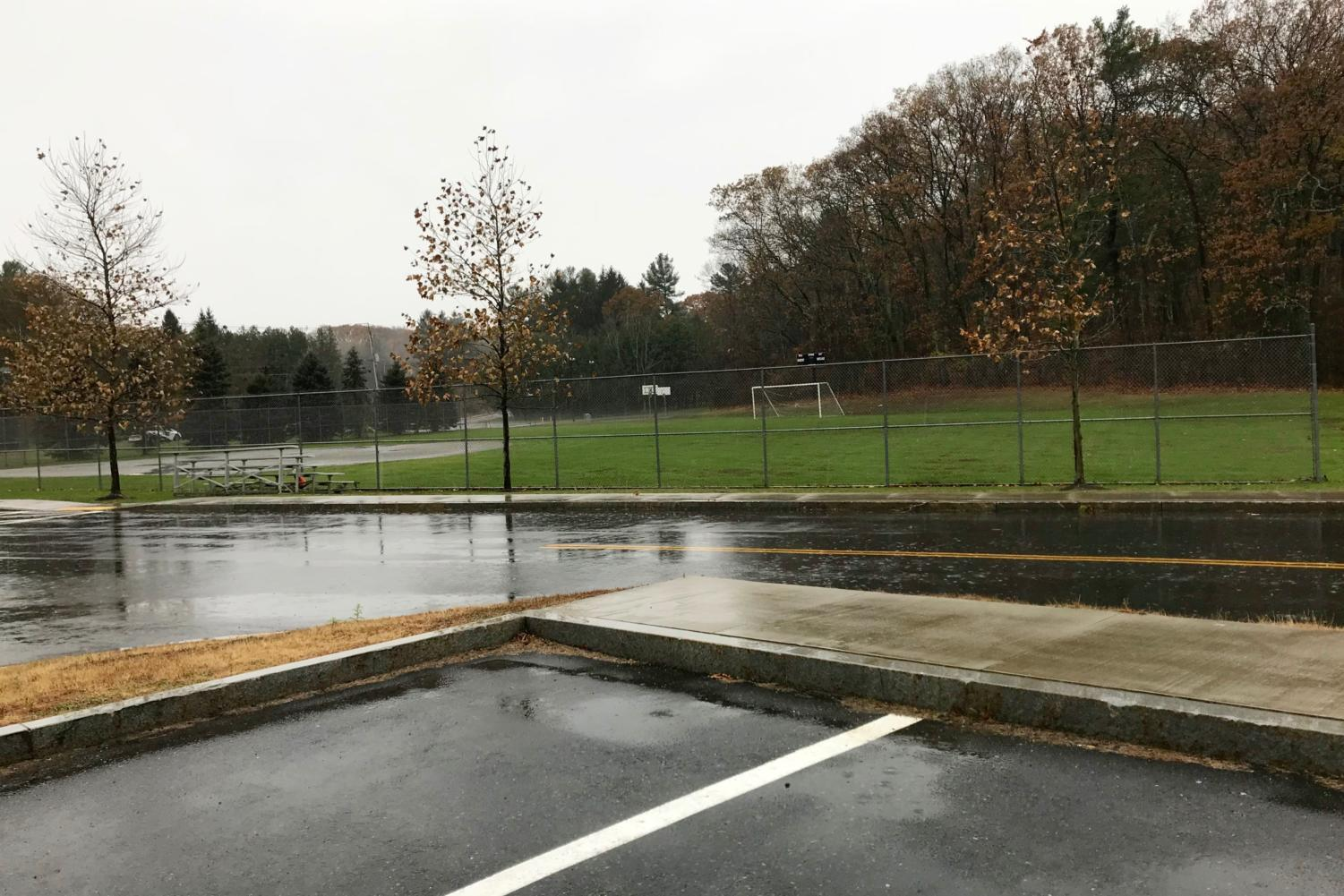 Pictured above is the softball field. According to Principal Allyson Mizoguchi in an email to students and parents, construction crews recently hit the main gas line while performing construction work. Police and National Grid determined there to be no leak into the main building.