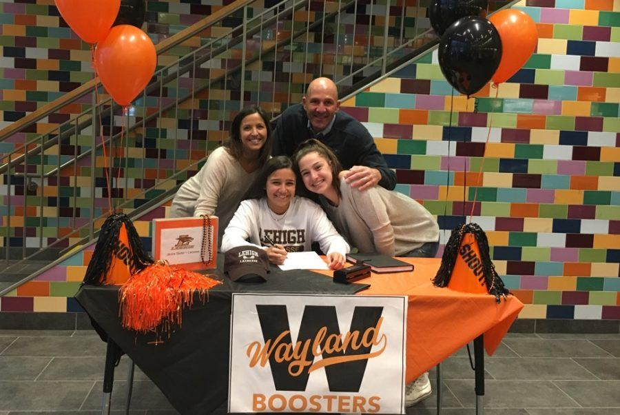 Pictured+above+is+Jackie+Stoller+with+her+parents+and+her+sister+Lilly%2C+who+is+a+freshman.+Stoller+signed+her+National+Letter+of+Intent+to+play+lacrosse+at+Division+I+Lehigh+University.+%E2%80%9CIt+is+a+day+that+I+will+never+forget%2C%22+Stoller+said.