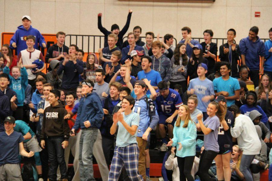The sophomores cheer as the Spirit Day pep rally begins.