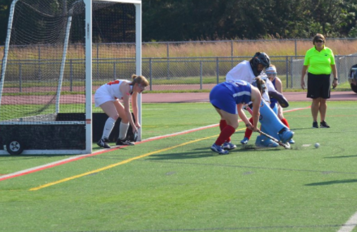 Pictured above is sophomore goalie Fatma Sayeh making a save for Wayland against Natick.
