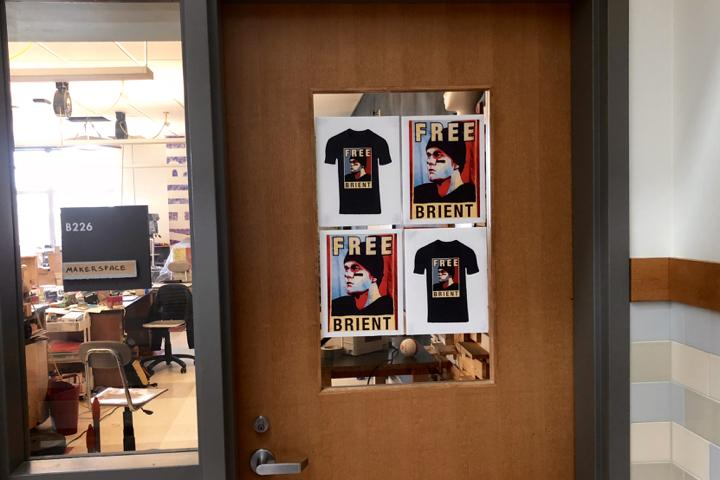 Pictured above is social studies teacher Jay Moody's classroom door. The signs were added the week after eSchoolPlusPlus was blocked on school servers and have been on the door ever since. The