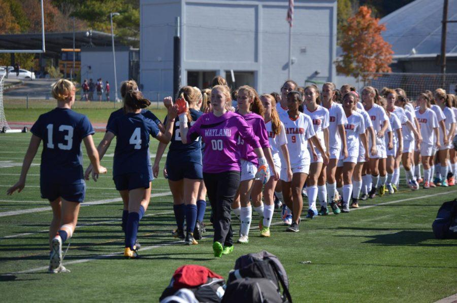Pictured above is the girls' varsity soccer team during the game against Cohasset.