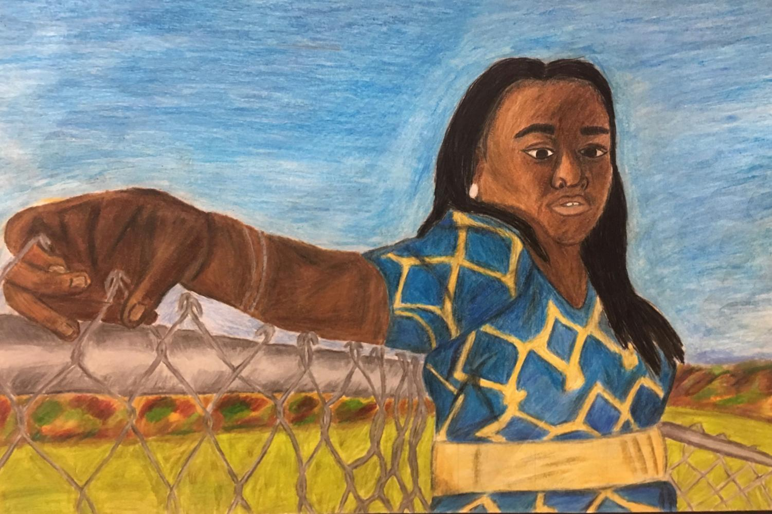 PIctured above is a perspective piece by senior Veja Kazlas. The subject of the picture is senior Valerie Abalaka.