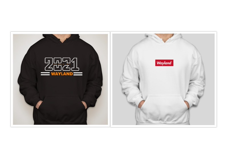 The Class of 2021 executive board's class sweatshirt (left) and freshman Michael Long's (right).