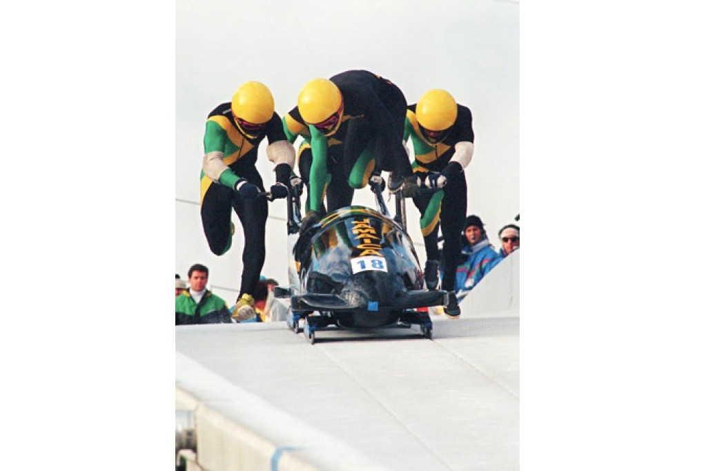 Pictured above is the Jamaican bobsled team the that film