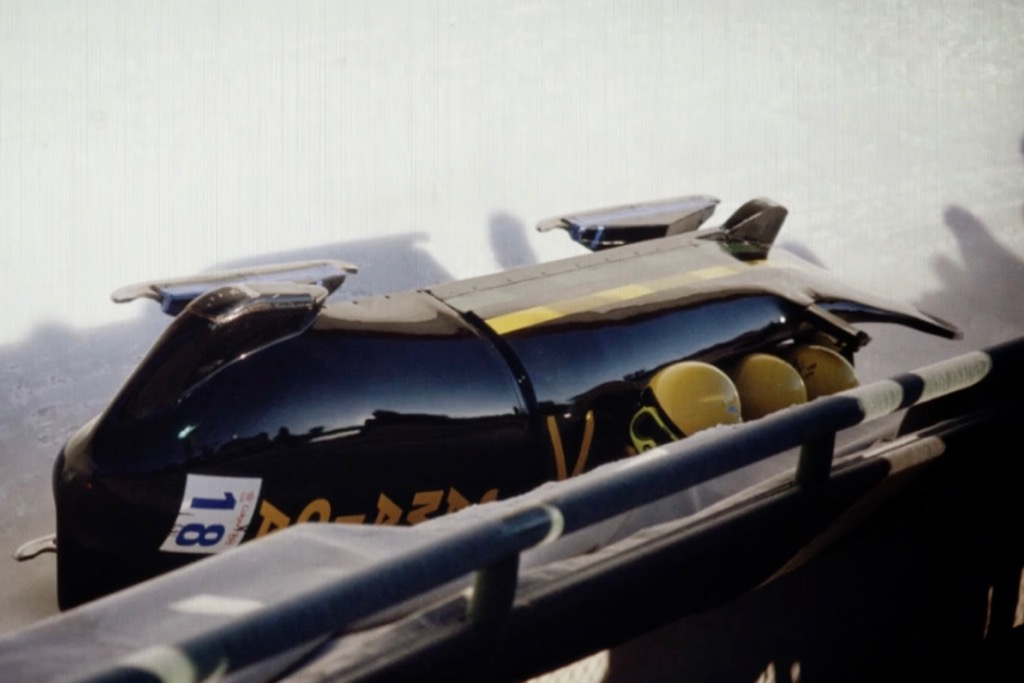 The Jamaican Bobsleigh Team after their crash in the Calgary Olympic Games.