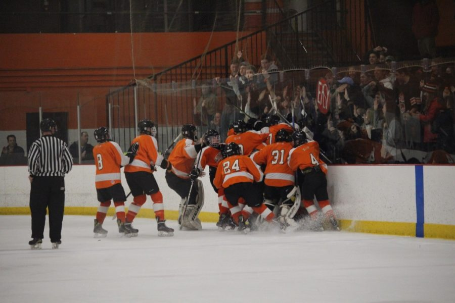 The team and fans celebrate after a goal scored in overtime, leading the team to victory.