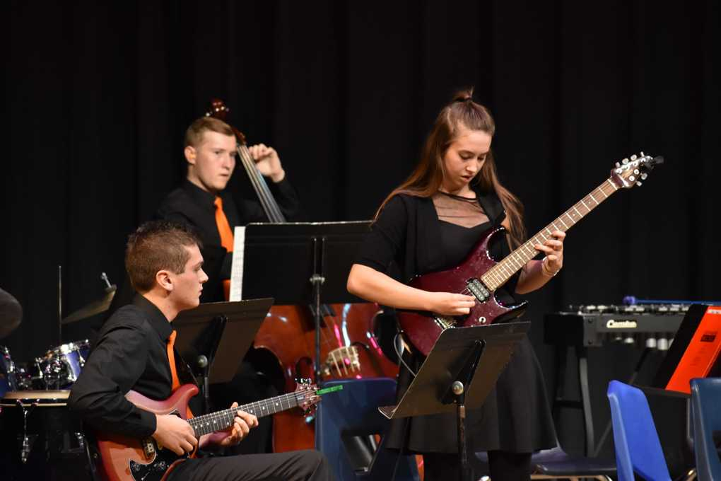 Pictured above is junior Sophia Schroeder playing at a WHS jazz band concert.