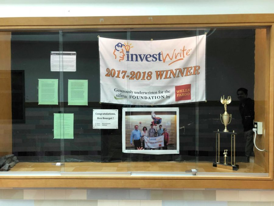 The history department created a display case to recognize senior Ben Bourget's achievement. Bourget recently won the state InvestWrite competition and placed eighth in the national competition.