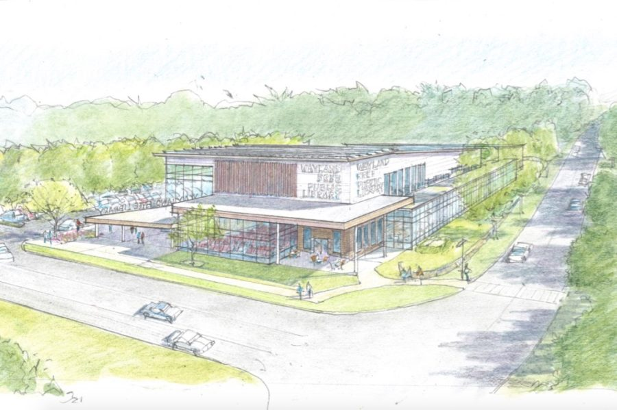 Pictured+above+is+the+design+for+a+new+public+library+on+Main+Street.+Wayland+residents+failed+to+pass+this+proposal+at+Tuesday%27s+Town+Meeting.