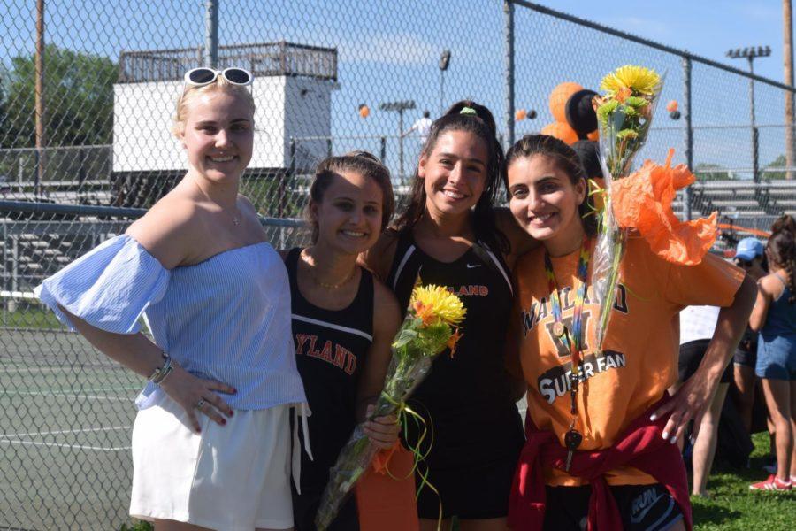 Seniors Tiffany Gill, Jordan Rubin, Lindsay Jacobs and Denisevich celebrate the win.