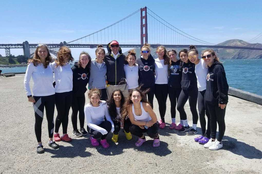 Members of the Wayland-Weston crew team at the Golden Gate Bridge while touring San Francisco before the regatta.
