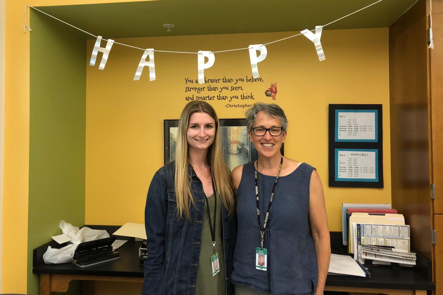 Coworkers Nicole Stetson (left) and Naomi Rosenthal (right) smile for a photo in the LRT room. Rosenthal, who has taught students for 32 years, is retiring at the end of the school year.