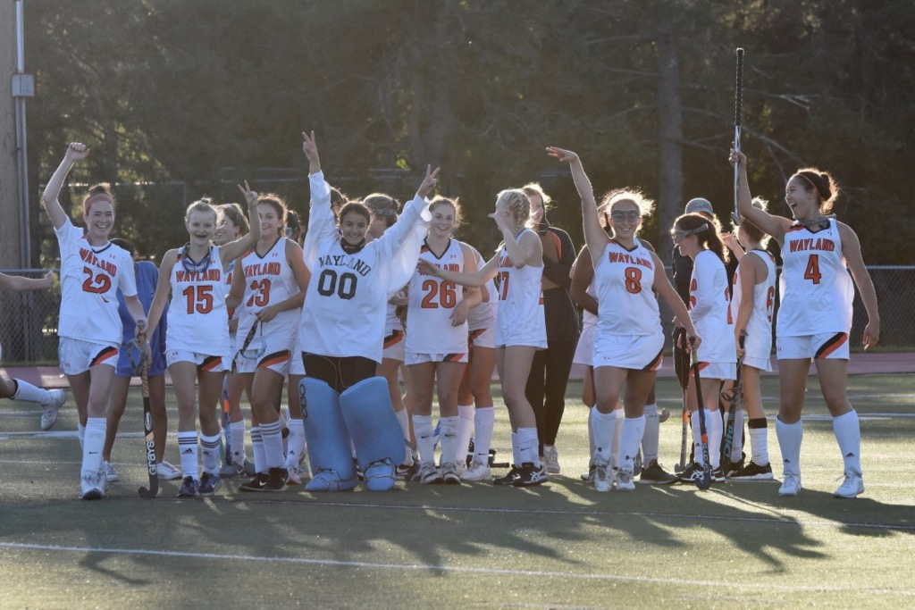 Wayland+celebrates+their+first+win+of+the+season.