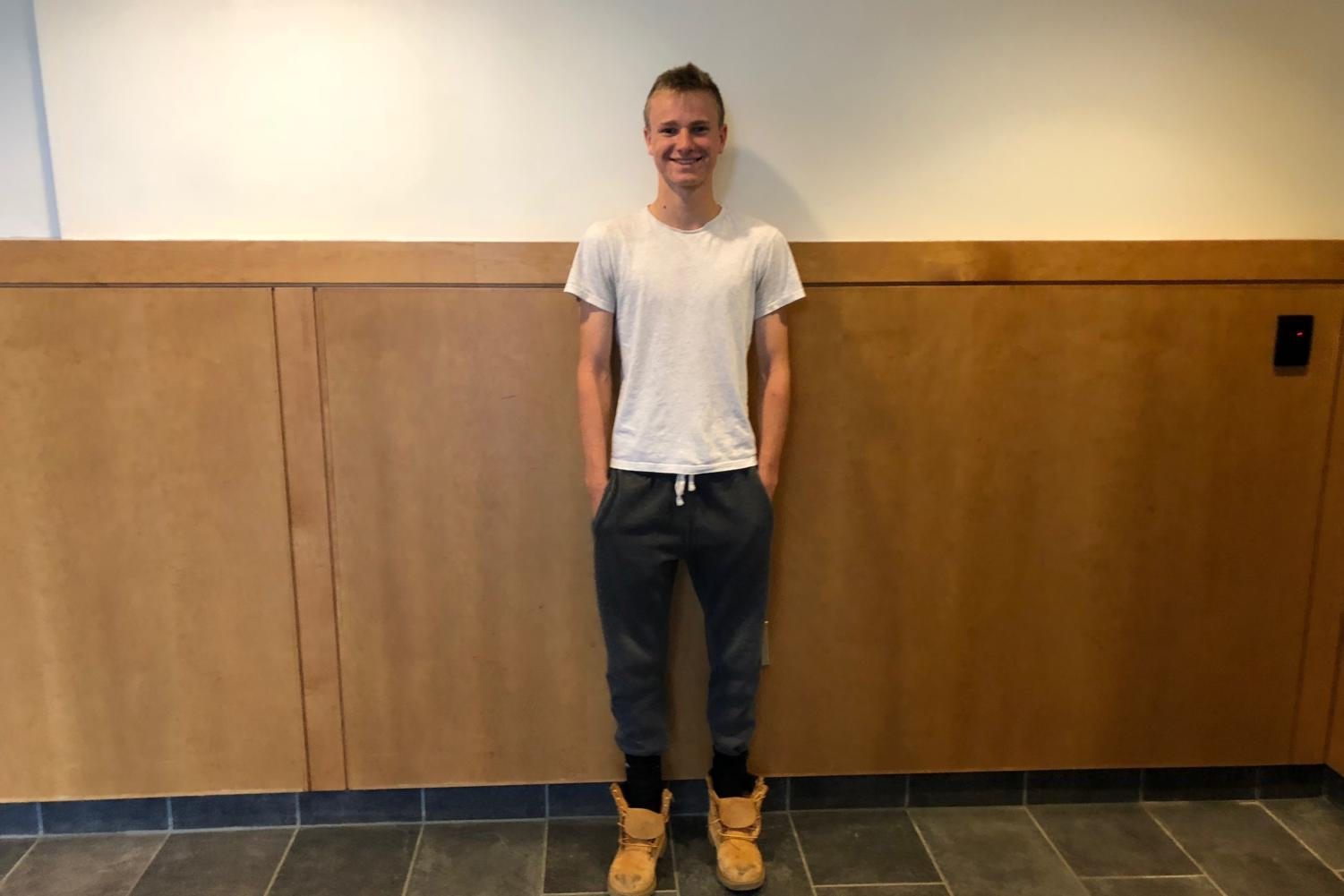 Junior Kyle Mabe dresses in H&M, Timberland and Nike.