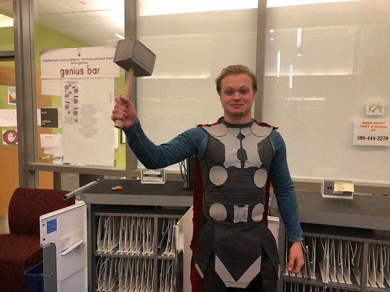 Nate+L%27Esperance+poses+as+Thor%2C+a+Marvel+superhero.