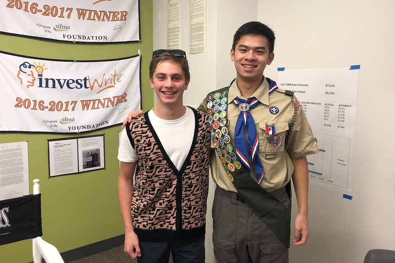 Alex+Janoff+dressed+as+Ferris+Bueller%2C+and+Nathan+Zhao+dressed+as+Russell+from+Up.