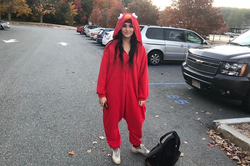 Alexa+Calder+dressed+as+Elmo.
