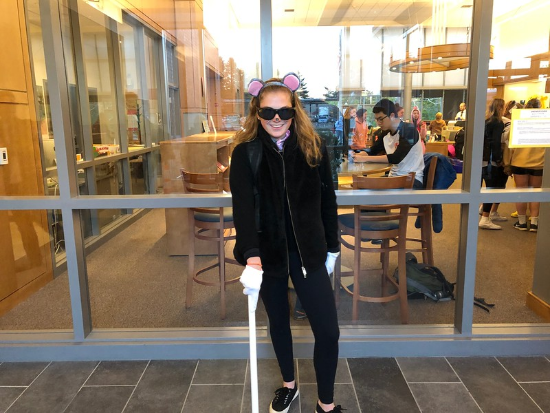 Lily+Tardif+struts+in+her+costume%2C+dressed+as+one+of+the+%22Three+Blind+Mice%22%2C+along+with+Rose+Kiefer+and+Dal%C3%A9+Lippincott.
