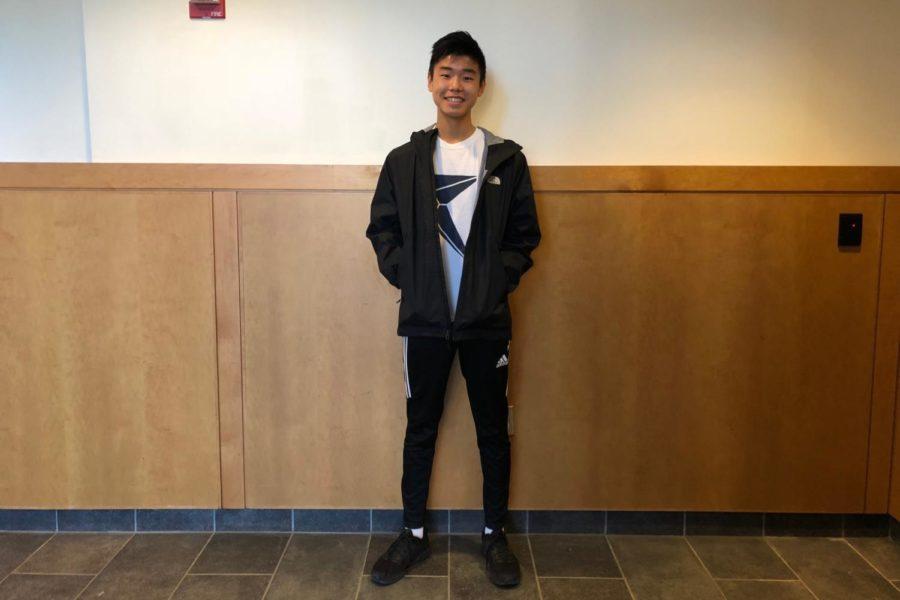 Junior Jasper Hsu wears a North Face jacket, Adidas pants, and Nike sneakers.