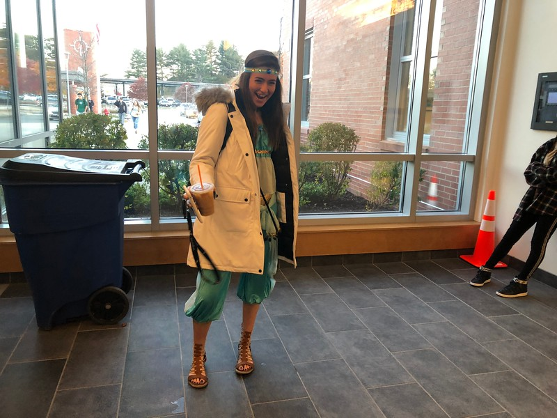 Lauren+Hanifin%2C+dressed+as+Jasmine+from+%22Aladdin%2C%22+ditched+the+magic+carpet+for+classes.