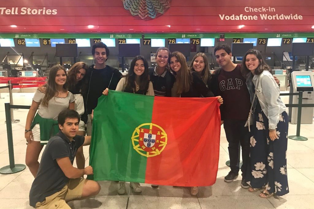 """Portuguese senior exchange student Ines Alpendre waits with her friends at the airport in her home country. """"Meeting new people makes me not miss my friends that much,"""" Alpendre said."""