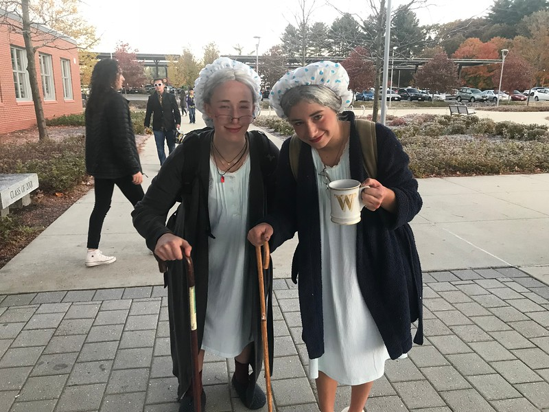 %28from+left+to+right%29+Abaigeal+Donaldson+and+Cate+Gould+walk+in+dressed+as+old+ladies.