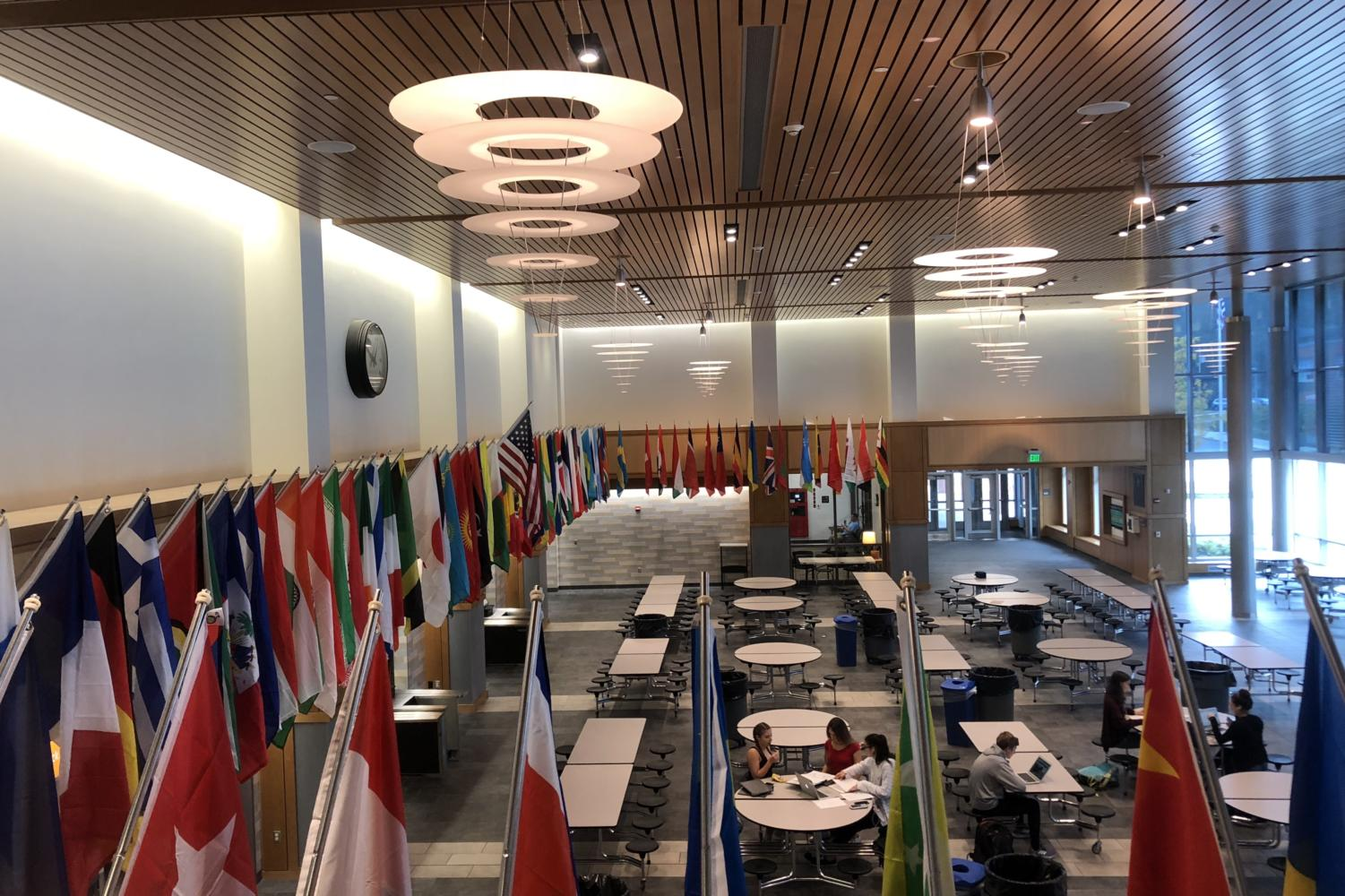 Flags of different countries across the world line the walls of the WHS commons. The flags were installed in the commons this past summer.
