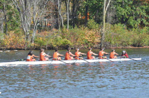 """Members of the Wayland-Weston crew team rowing at the Head of the Charles last year.  """"We're faster than years past, so we're hopefully going to do better than we did last year,"""