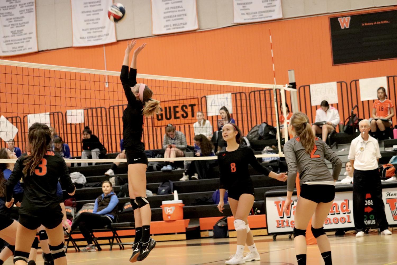 Senior+Lindsey+Robison+jumps+for+the+ball.