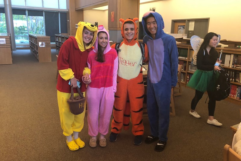 Samantha Neuman, Daniella Timperio, Jake Horowitz, and Ben Johnson dressed as characters from the classic Winnie the Pooh. From left to right, Winnie the Pooh, Piglet, Tigger, and Eeyore. The class of 2019 showed up to school in both group and solo costumes.