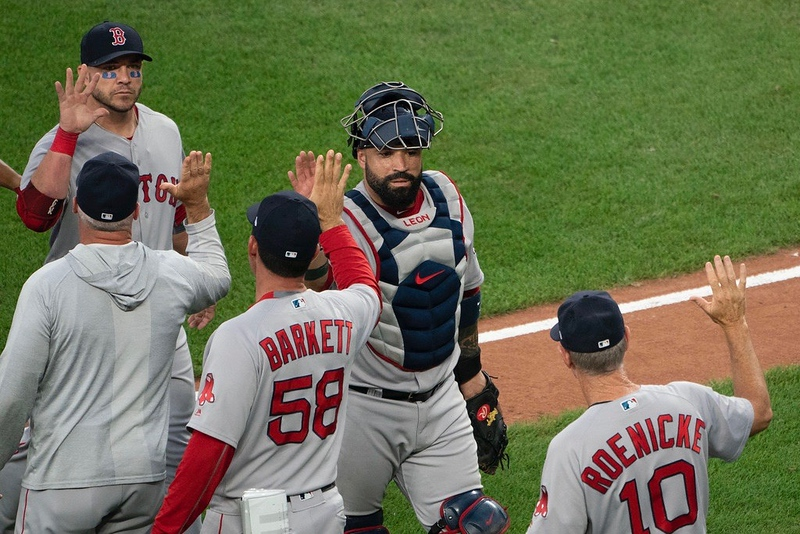 The+Boston+Red+Sox+celebrates+a+win+against+the+Baltimore+Orioles+this+past+August.+Last+week%2C+the+Red+Sox+brought+the+World+Series+trophy+home+after+a+five+game+series+against+the+Los+Angeles+Dodgers.+WHS+students+share+their+reactions+to+the+World+Series+and+a+record-breaking+Red+Sox+season.