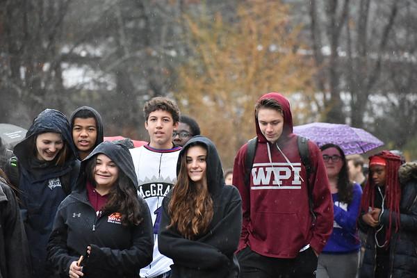 Sophomores+Carly+Scheidemantel+and+Mia+Mazokopos+smile+during+the+walkout.