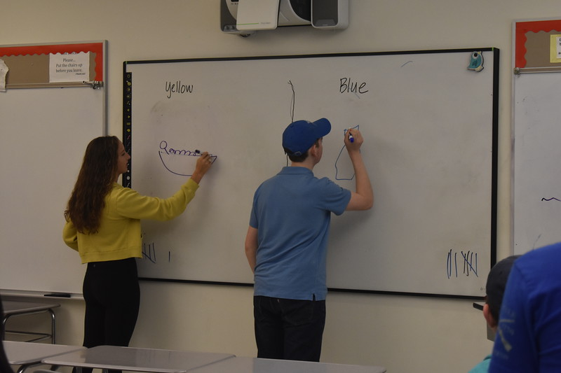 Juniors+Kay+Tilley+and+Charlie+Moore+race+to+draw+during+Pictionary.