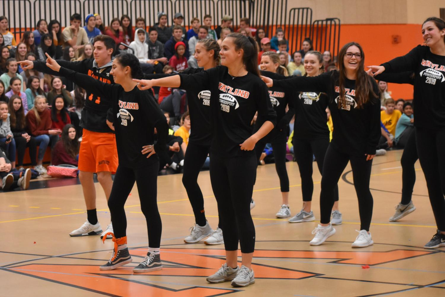 The+seniors+surprise+the+school+with+a+flash+mob.+++Back+row+from+left+to+right%3A+Lauren+Campbell+and+Dale+Lippincott.+Middle+row+from+left+to+right%3A+Jack+Crowley%2C+Eden+Vanslette%2C+Kate+Balicki+and+Haley+Rice.+Front+row+from+left+to+right%3A+Nicole+Erdekian+and+Hannah+Rice.