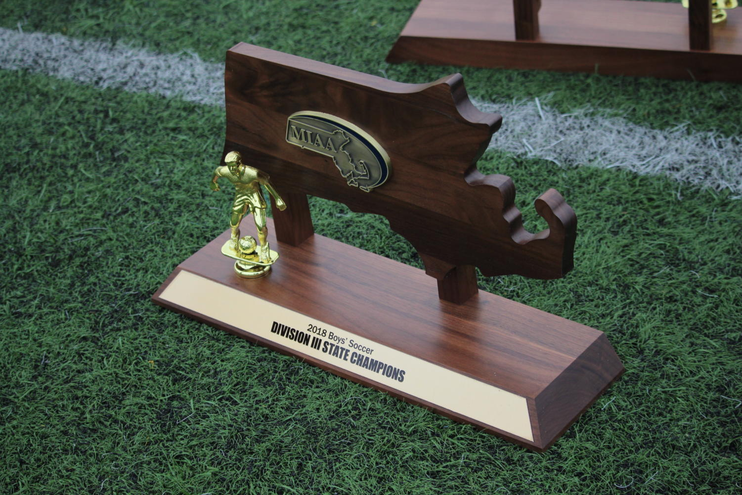 The+State+Championship+trophy+sits+on+the+turf+before+being+presented+to+Wayland.