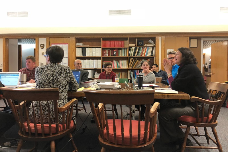 The School Committee, Principal Allyson Mizoguchi and Superintendent Arthur Unobskey meet in spring 2018. The School Committee will vote between two start time scenarios on Nov. 19, both of which have WHS begin at 8:30 a.m.
