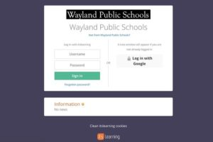 Teachers at Wayland High School use both itsLearning (pictured above) and Google Classroom as online learning platforms.