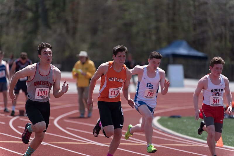 Junior Sidney Toga starts the varsity 100 meter-dash. Toga has participated on both of the Varsity Indoor and Outdoor Track & Field teams since his freshman year.