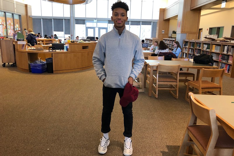 "Sophomore Raseed Parham dresses in H&M, Levi's and Nike. ""Sometimes just go outside of your comfort zone and try something new,"" Parham said."